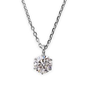 ダイヤモンド ネックレス 一粒 プラチナ Pt900 0.1ct ダイヤネックレス 6本爪 Kカラー I1クラス Poor 中央宝石研究所ソーティング済み