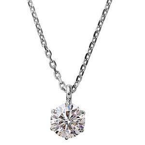 【鑑定書付】 ダイヤモンド ネックレス 一粒 K18 ホワイトゴールド   0.1ct ダイヤネックレス 6本爪 Kカラー I1クラス Poor 中央宝石研究所ソーティング済み