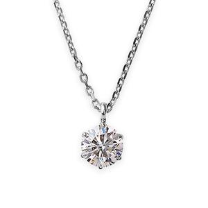 【鑑定書付】 ダイヤモンド ネックレス 一粒 K18 ホワイトゴールド   0.4ct ダイヤネックレス 6本爪 Kカラー I1クラス Poor 中央宝石研究所ソーティング済み