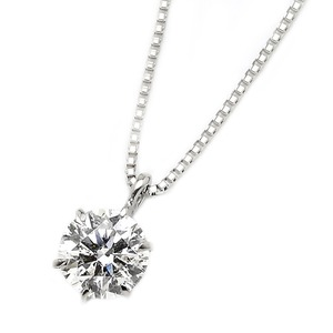ダイヤモンド ネックレス 一粒 K18 ホワイトゴールド  0.5ct ダイヤネックレス 6本爪 H〜Fカラー VSクラス Excellentアップ 3EX若しくはH&C 中央宝石研究所ソーティング済み