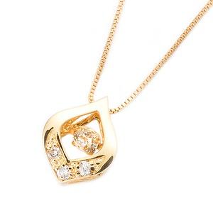 ダイヤモンドペンダント/ネックレス 一粒  K18 イエローゴールド 0.1ct ダンシングストーン ダイヤモンドスウィングネックレス 揺れるダイヤが輝きを増す☆ 雫モチーフ 揺れる ダイヤ