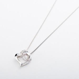 【訳あり・在庫処分】 ダイヤモンドペンダント/ネックレス 一粒 K18 ホワイトゴールド 0.1ct ダンシングストーン ダイヤモンドスウィングネックレス 揺れるダイヤが輝きを増す ハートモチーフ 揺れる ダイヤ 鑑別書付き