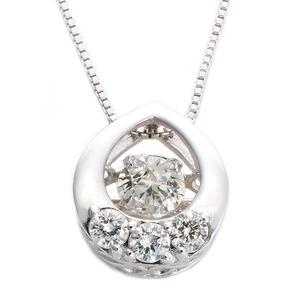 ダイヤモンドペンダント/ネックレス 一粒  K18 ホワイトゴールド 0.2ct ダンシングストーン ダイヤモンドスウィングネックレス 揺れるダイヤが輝きを増す☆ 雫モチーフ 揺れる ダイヤ