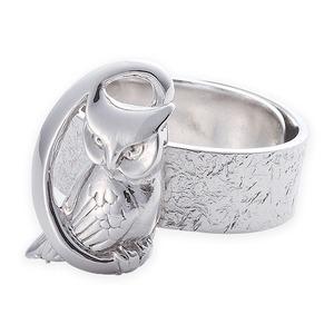 リング 月にふくろう 岩石 梟 指輪 銀製 磨き仕上げ 日本伝統工芸品 ハンドメイド スターリングシルバー