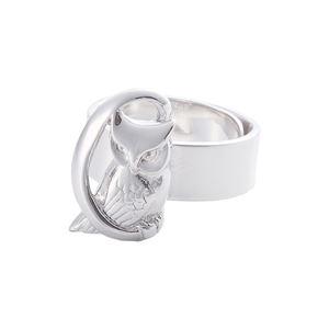 リング 月にふくろう 無地 梟 指輪 銀製 磨き仕上げ 日本伝統工芸品 ハンドメイド スターリングシルバー