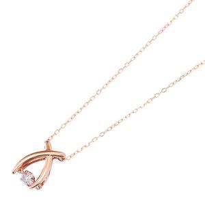 【訳あり・在庫処分】ダイヤモンドペンダント/ネックレス 一粒 K18 ピンクゴールド 0.08ct ダンシングストーン ダイヤモンドスウィングネックレス 揺れるダイヤが輝きを増す☆ リボンモチーフ 揺れる ダイヤ