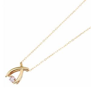 ダイヤモンドペンダント/ネックレス 一粒 K18 イエローゴールド 0.08ct ダンシングストーン ダイヤモンドスウィングネックレス 揺れるダイヤが輝きを増す☆ リボンモチーフ 揺れる ダイヤ