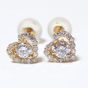 ダイヤモンド ピアス 0.3ct K18 イエローゴールド Hカラー SIクラス 0.3カラット ハート ピアス 限定1点限り