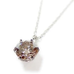 ダイヤモンド ネックレス 一粒 K18 ホワイトゴールド 0.3ct 6本爪 シャンパンゴールドダイヤ SIクラス Good ペンダント 鑑定書付き