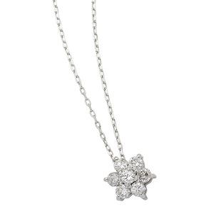 ダイヤモンドペンダント ネックレス 7粒 0.2カラット K18 ホワイトゴールド フラワーモチーフ 人気のフラワーダイヤ