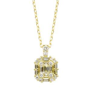 ダイヤモンド ネックレス K18 イエローゴールド 0.3ct バケット ダイヤネックレス ペンダント