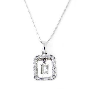 ダイヤモンド ネックレス プラチナ Pt900 0.15ct バケットダイヤ 0.15カラット ダイヤネックレス スクエアー ペンダント 限定1点限り