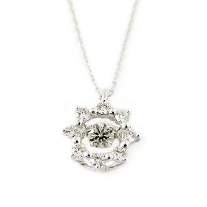 ダイヤモンド ネックレス K10 ホワイトゴールド 0.2ct ダンシングストーン Hカラー SIクラス 揺れるダイヤが輝きを増す 揺れる ダイヤ ペンダント 限定1点限り