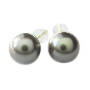 タヒチ真珠 パール ピアス K18 イエローゴールド 8mm 8ミリ珠 真珠 シンプル シリコン製キャッチ仕様