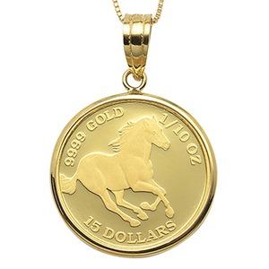 コイン ネックレス K24 エリザベス ホース 馬 1/10oz 純金 ツバルコイン リバーシブル 地金 ネックレス K18 イエローゴールド ペンダント シンプル