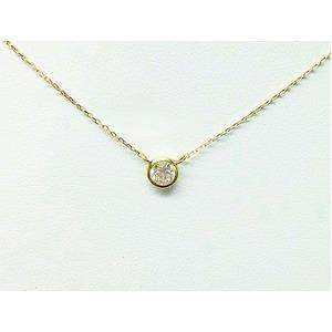 K18 ダイヤモンド一粒0.15ctUPネックレス フクリンタイプ