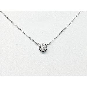 PT900 ダイヤモンド一粒0.15ctUPネックレス フクリンタイプ