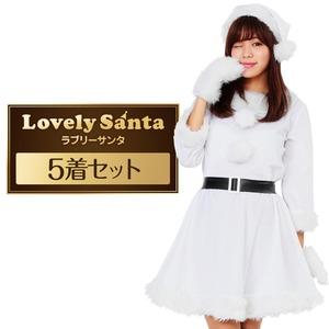 Peach×Peach レディース ラブリーサンタクロース ホワイト(白)【クリスマスコスプレ 衣装 まとめ買い5着セット】