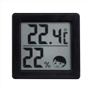 小さいデジタル温湿度計ブラック 396-09M