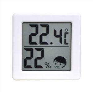 小さいデジタル温湿度計ホワイト 396-10M