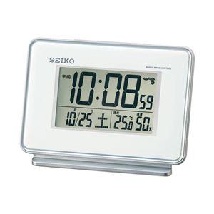 電波デジタル目覚まし時計白 086-01B