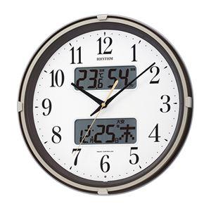 電波掛け時計茶メタリック 089-06B