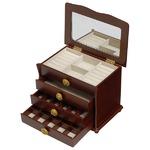 【訳あり・在庫処分】 大容量ジュエリーボックス(宝石箱) 4段収納 幅26cm 木製 コンパクト ブラウン