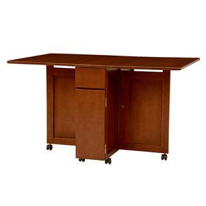 バタフライテーブル(折りたたみ式テーブル) ダークブラウン 木製/オーク突板 引き出し収納/キャスター付き