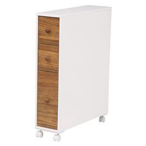 キャスター付きトイレラック/トイレ収納 【ナチュラルホワイト】 幅16cm スリム 木製