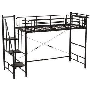階段式ロフトベッド 【ハイタイプ】 二口コンセント/宮付き スチールパイプ ブラック(黒)