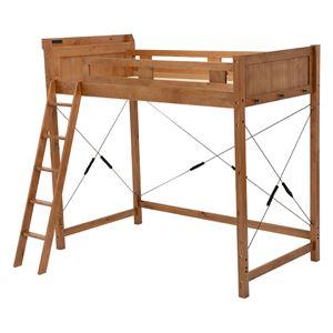 ロフトベッド/すのこベッド 【シングルサイズ】 ハイタイプ ブラウン 木製 二口コンセント/梯子/宮付き