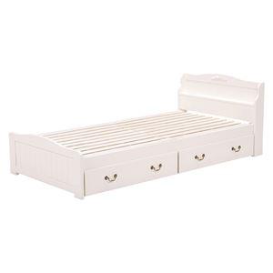 収納付きベッド/すのこベッド 本体 【シングルサイズ】 木製 二口コンセント/宮付き ホワイト(白)