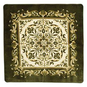 エレガント調 ラグマット/絨毯 【225cm×225cm グリーン】 正方形 防滑 ホットカーペット 床暖房対応 『バルモ』