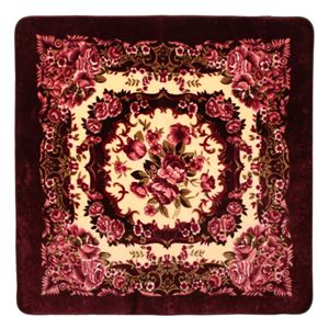 花柄 ラグマット/絨毯 【230cm×330cm ワインレッド】 長方形 ホットカーペット 床暖房対応 『リオ3』