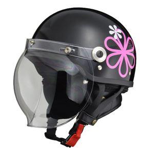 リード工業 (LEAD) バブルシールド付ハーフヘルメット CR760 ブラックフラワー フリー