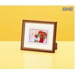 『花』風水額/シルク版画 【吉岡浩太郎 赤い花】 スタンド付き 壁掛け/置き型兼用 日本製