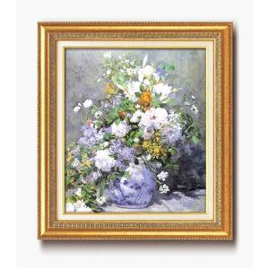 名画額縁/フレームセット 【F10号】 ルノワール 「花瓶の花」 670×595×38mm 壁掛けひも付き金フレーム
