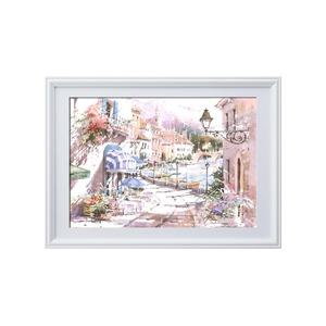 マリリン・シマンドル絵画額■白いフレーム・花の絵・風景画「ウォーターフロントヴィレッジ」