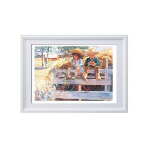 コリン・ハートレイ絵画額■白いフレーム・子どもの絵・風景画「ヘイライド」