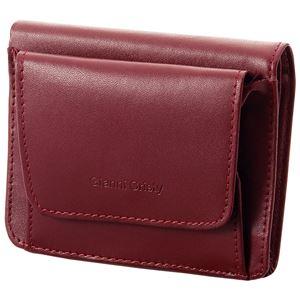 小銭も見やすい小さい牛床革財布 エンジ