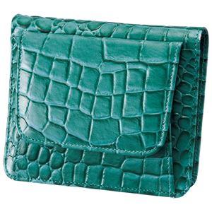小銭も見やすい小さい牛床革財布 型押エメラルドグリーン