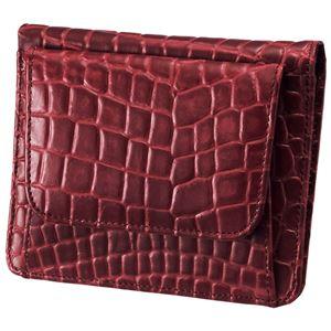 小銭も見やすい小さい牛床革財布 型押レッド