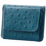 小銭も見やすい小さい牛床革財布 型押オーストリッチブルー