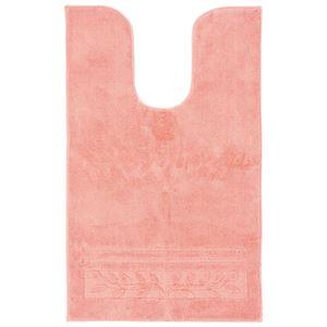 (まとめ) 抗菌防臭カラフルトイレマット『オリーブ柄』 ピンク 【3: 耳長マット】【×2セット】