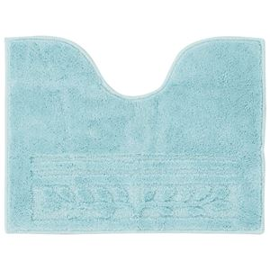 (まとめ) 抗菌防臭カラフルトイレマット『オリーブ柄』 ブルー 【3: 耳長マット】【×2セット】