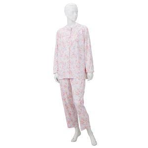【訳あり・在庫処分】 きほんのパジャマ(寝巻き) 【婦人用 M】 綿100% マジックテープ付き ズボン/前開き (介護用品) ピンク