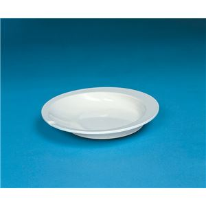 (まとめ)アビリティーズケアネット 食事用具 すくいやすい皿 アイボリー F50100【×15セット】