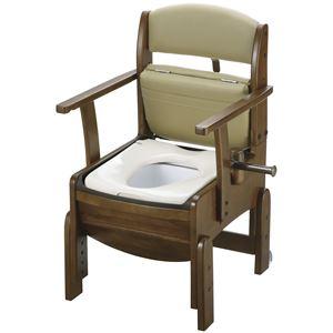 リッチェル 木製ポータブルトイレ 木製トイレきらく コンパクト (1)普通便座 18510