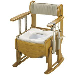 リッチェル 木製ポータブルトイレ 木製トイレ きらく 座優 肘掛昇降 (1)普通便座 18670