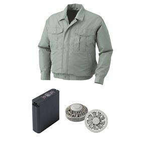 空調服 ポリエステル製ワーク空調服 大容量バッテリーセット ファンカラー:グレー 0540G22C07S5 【カラー:モスグリーン サイズ:XL】